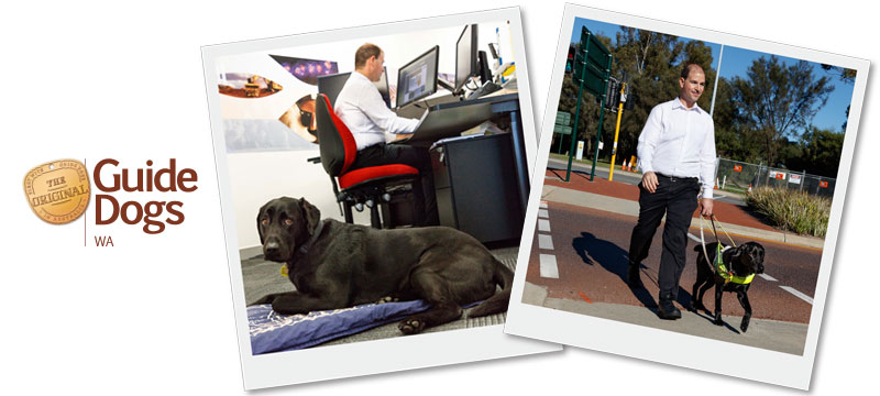 2 images. Left side shows Eric working in his office. Right image shows Eric and Guide Dog Sundae crossing the road at a pedestrian crossing.