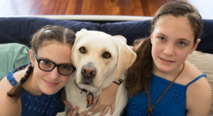 Caitlin and Bethany with Companion Dog Ellie