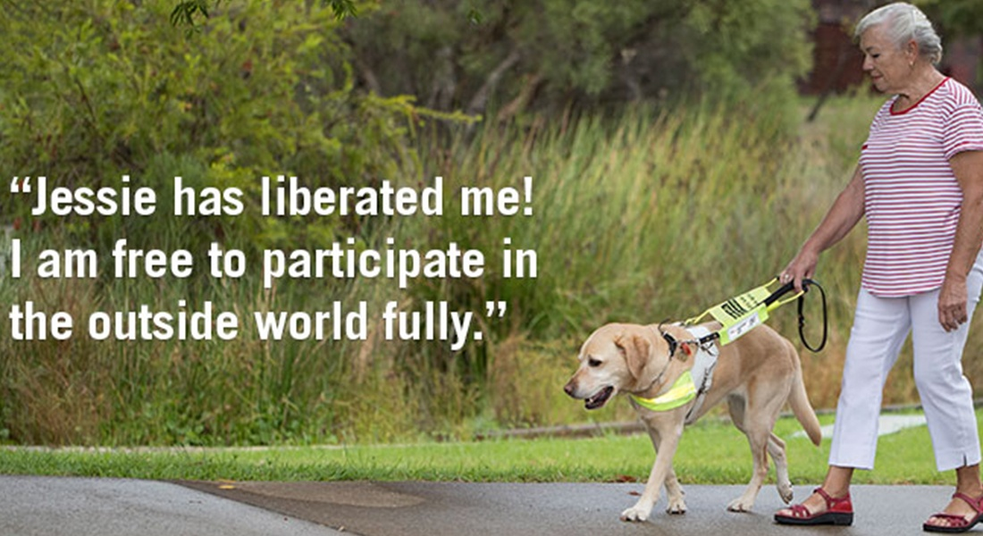 """Brianna with Guide Dog Jessie. Text reads """"Jessie has liberated me! I am free to participate in the outside world fully"""""""