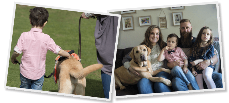 Montage of Fletcher, his family and Autism Assistance Dog Koha