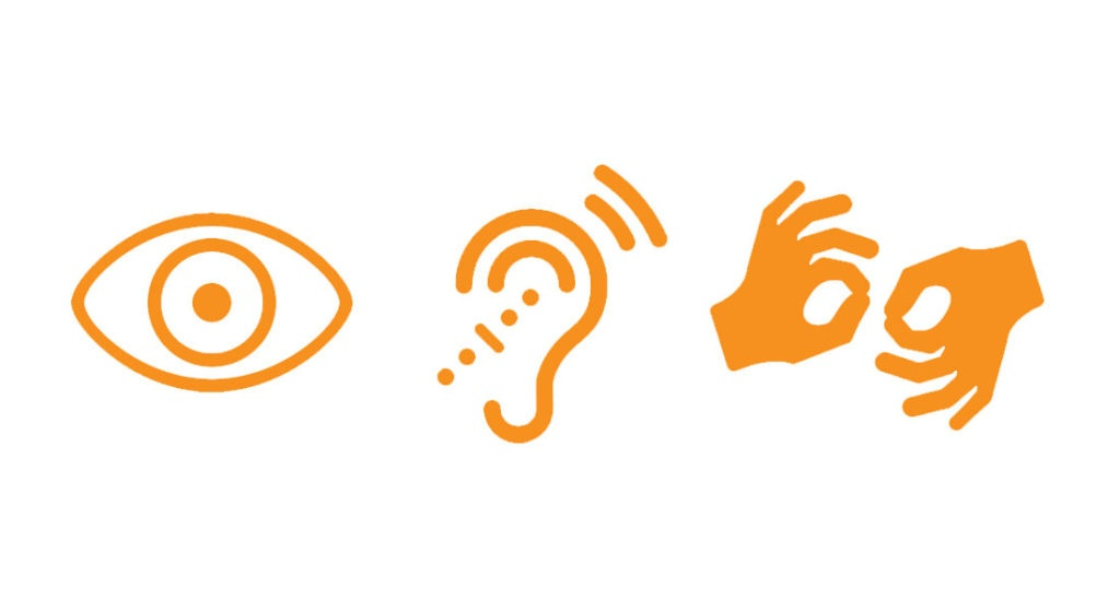 Icons depicting sight, hearing and sign language