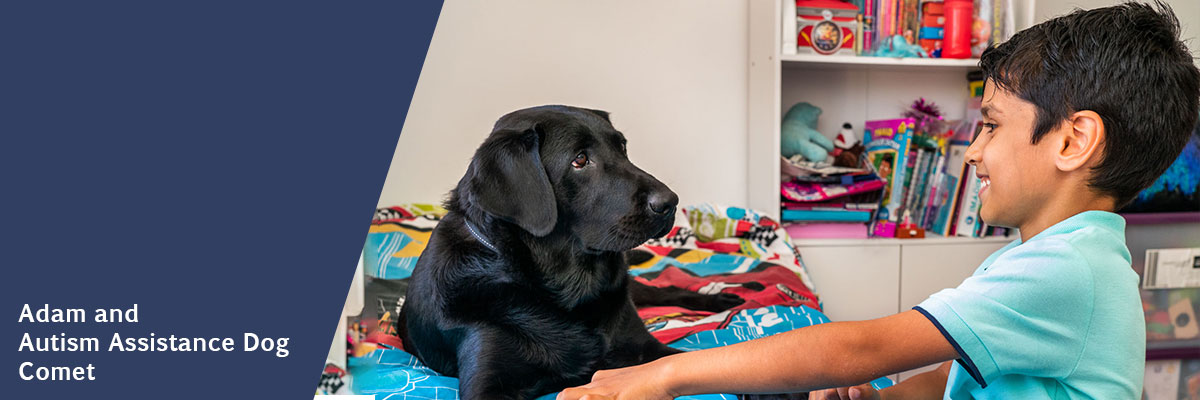 Adam and Autism Assistance Dog Comet