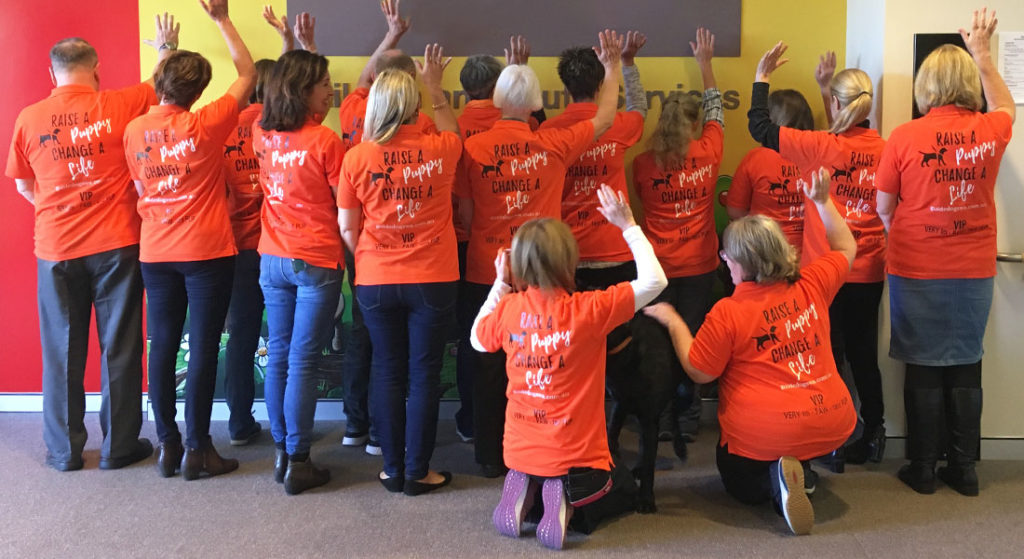 Group of volunteers with their backs to the camera showing off the back of the t-shirt