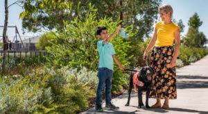 Adam, Autism Assistance Dog Comet and Mum Maria