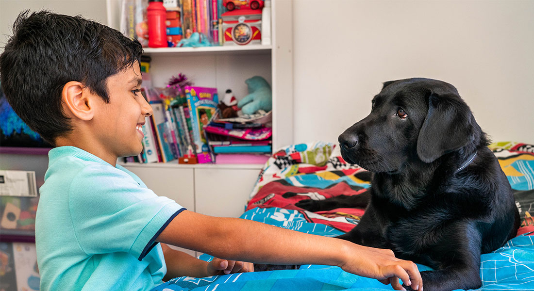 Adam with Autism Assistance Dog Comet