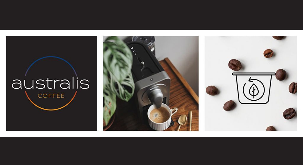 Montage showing Australis Coffee logo, coffee machine and coffee beans