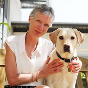 CEO Elizabeth Barnes with Ambassador Dog Annie