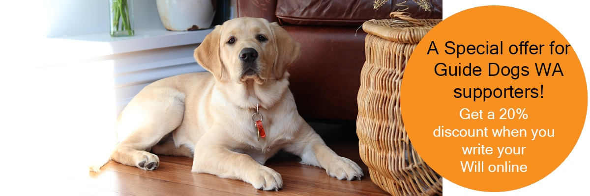 Labrador puppy sitting on the floor. Text reads; A special offer for Guide Dogs WA supporters! Get a 20% discount when you write your Will online.