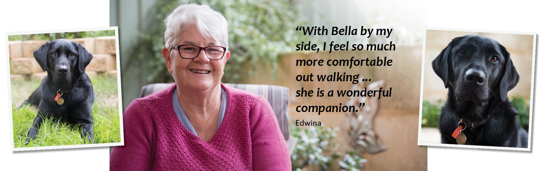 "Two photos of Guide Dog Bella, and one photo of her Handler Edwina, with quote ""With Bella by my side, I feel so much more comfortable out walking ... she is a wonderful companion."""