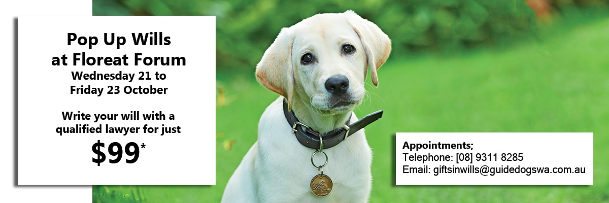 Guide Dog puppy in a garden. Text reads; Pop Up Wills at Floreat Forum Wed 21 -Fri 23 October. Write your will with a qualified lawyer for just $99*. Telephone 93118285 for appointments