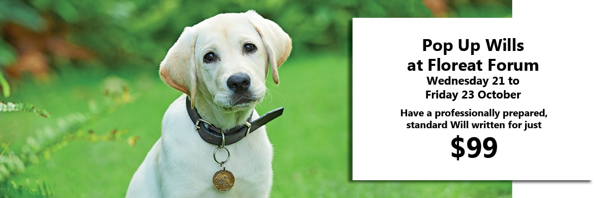 Guide Dog puppy in a garden. Text; Pop Up Will at Floreat Forum, 21-23 October, Have a professinal prepared standard Will written for just $99.