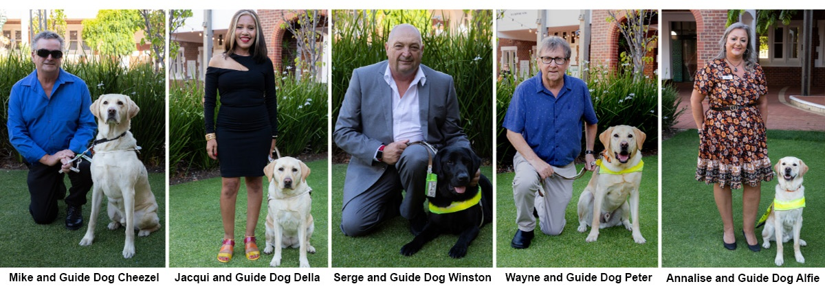 Five Guide Dogs and their handlers at their graduation ceremony; Mike and GD Cheezel; Jacqui and GD Della; Serge and GD WInston; Wayne and GD Peter; Annalise and GD Alfie.