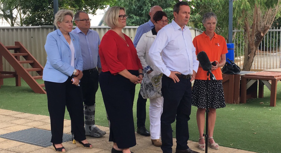Premier Mark McGowan addresses the press in the Guide Dogs WA trianing yard.