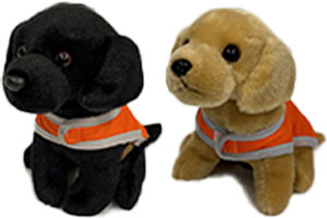 Yellow and black plush pup