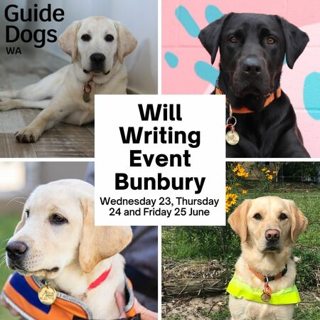 Images of four Guide Dogs. Text reads: Will Writing Event Bunbury. Wednesday 23, Thursday 24 and Friday 25 June.