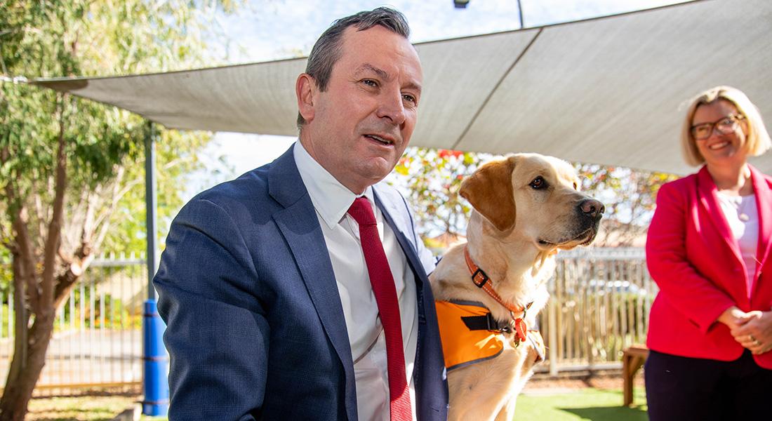 Premier Mark McGowan with Guide Dog in Training, Sheba