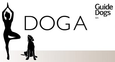 Silhouette of woman in yoga pose with dog sitting beside her. The word DOGA with the Guide Dogs logo is overlaid on the image