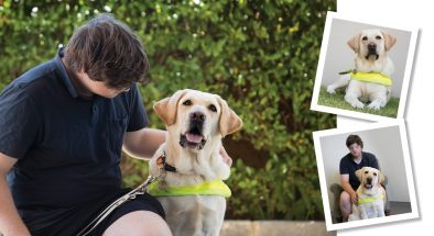Montage of Brad and his Guide Dog, Jaxx.